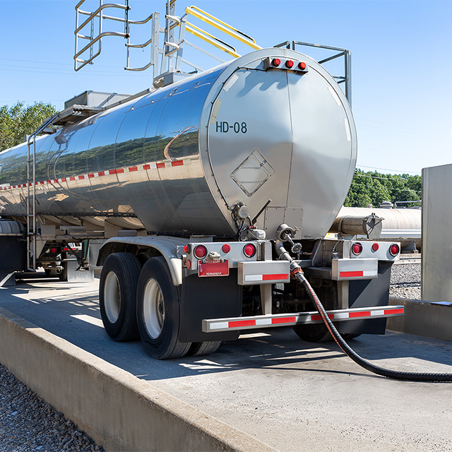 Tanker truck being filled