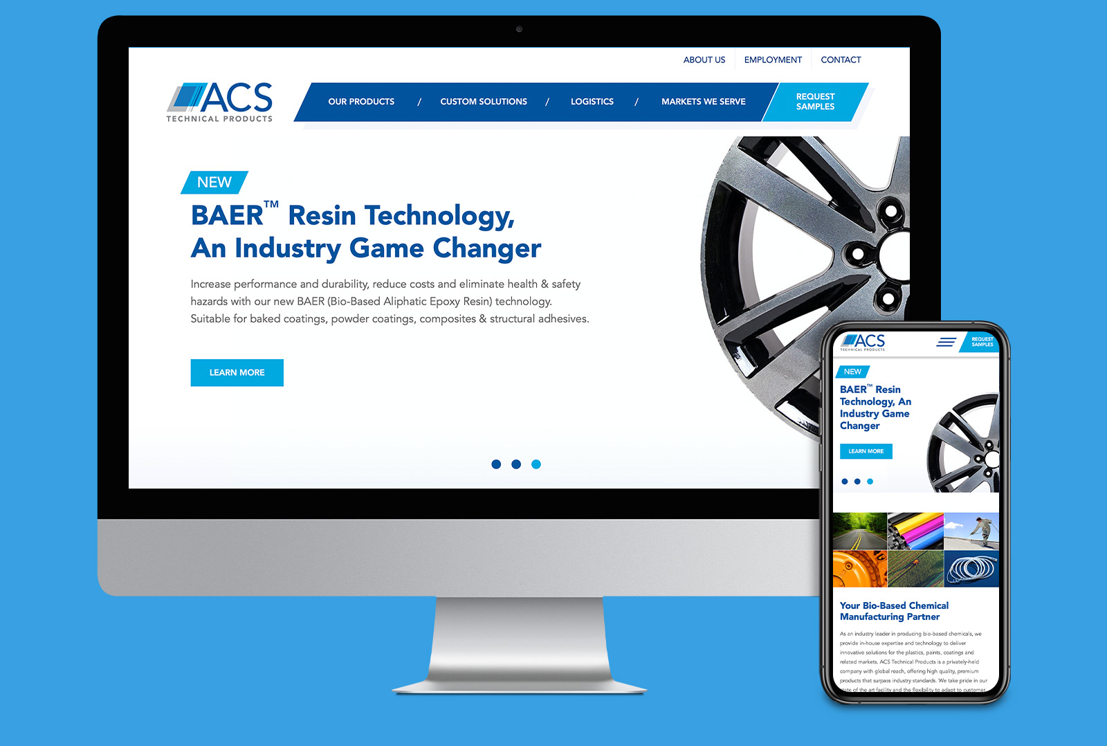 ACS Tech website landing page on computer screen and mobile de-vice