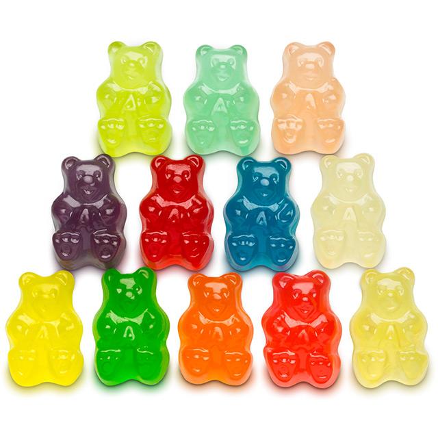 Twelve stacked multicolor gummy bears