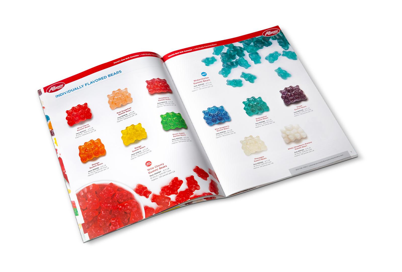 Albanese gummy bear flavors catalog spread design