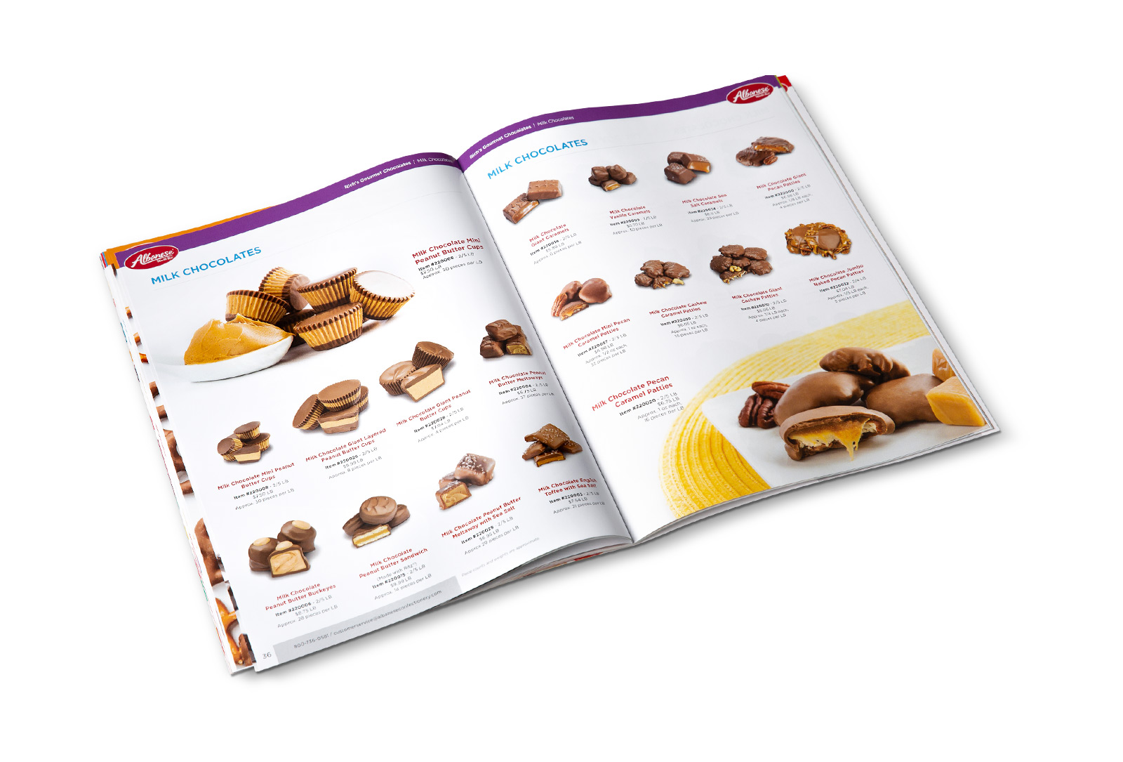 Albanese chocolate products catalog spread design