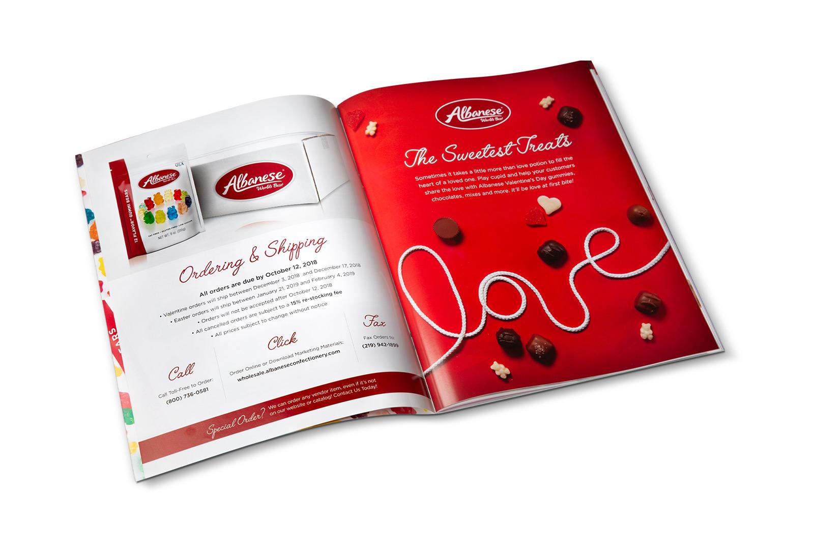 Albanese confectionary treats catalog spread design