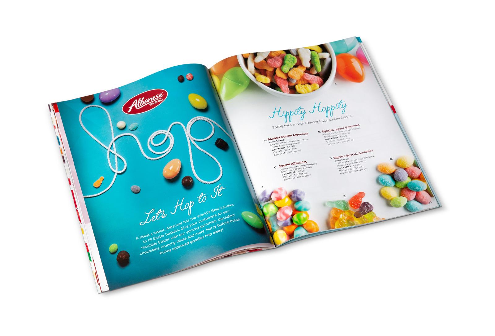 Albanese Easter confectionary treats catalog spread design