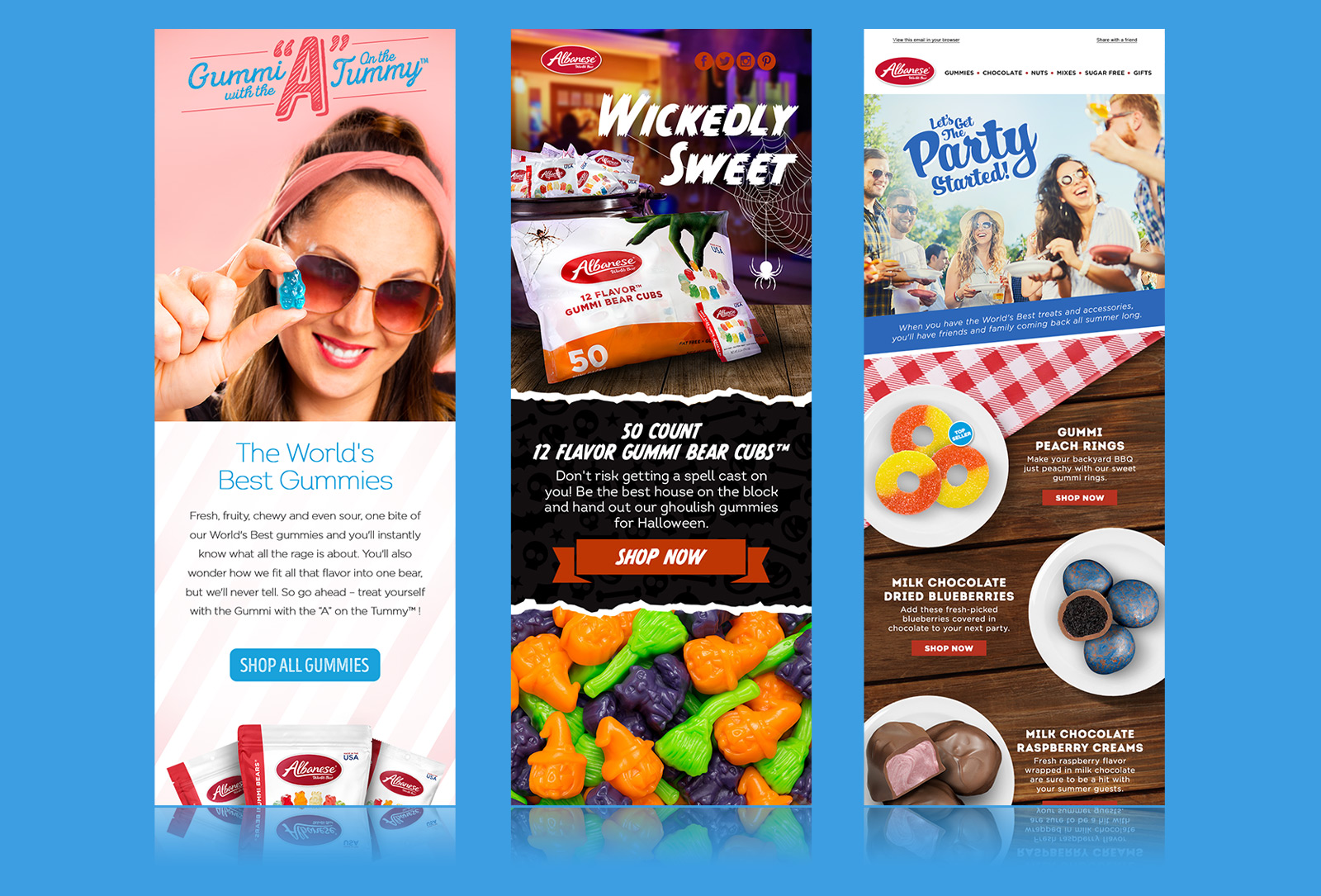 Albanese The World's Best Gummies newsletter design / Halloween gummy bears newsletter design / summer confectionary newsletter design
