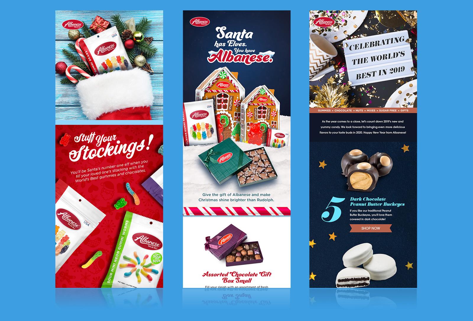 Albanese gummy bear Christmas stocking / gummy bear and worms stocking stuffer ad / Best in 2019 newsletter design