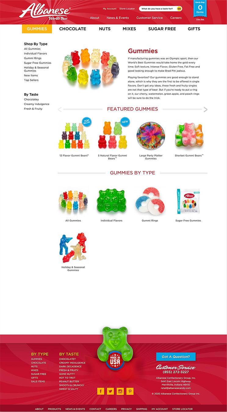 Albanese website gummy bear landing page snapshot