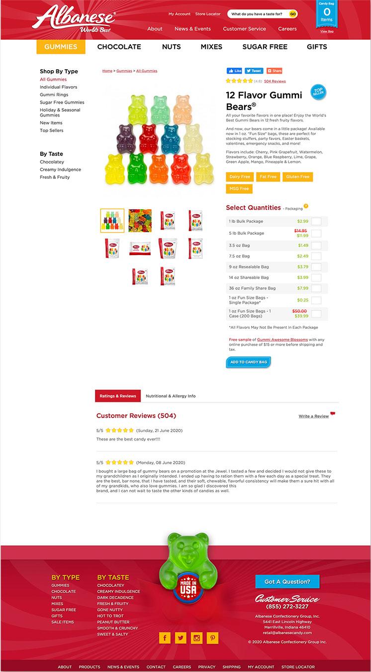 Albanese website 12 Flavors landing page snapshot