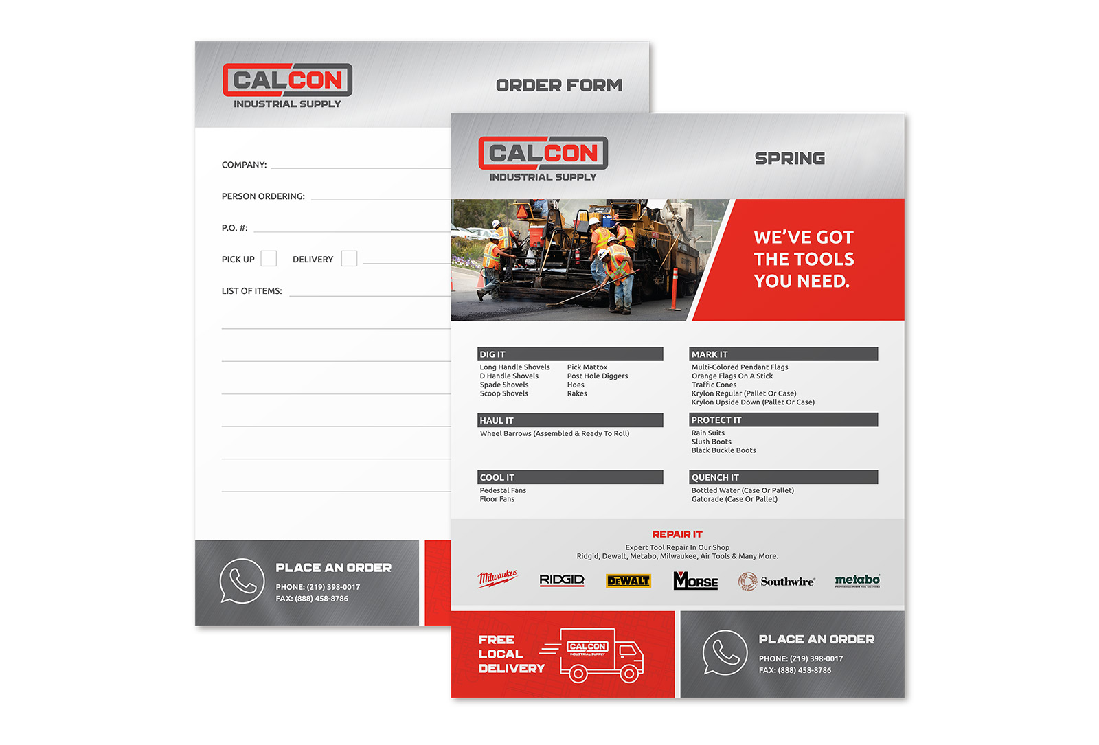 CalCon order form graphic design