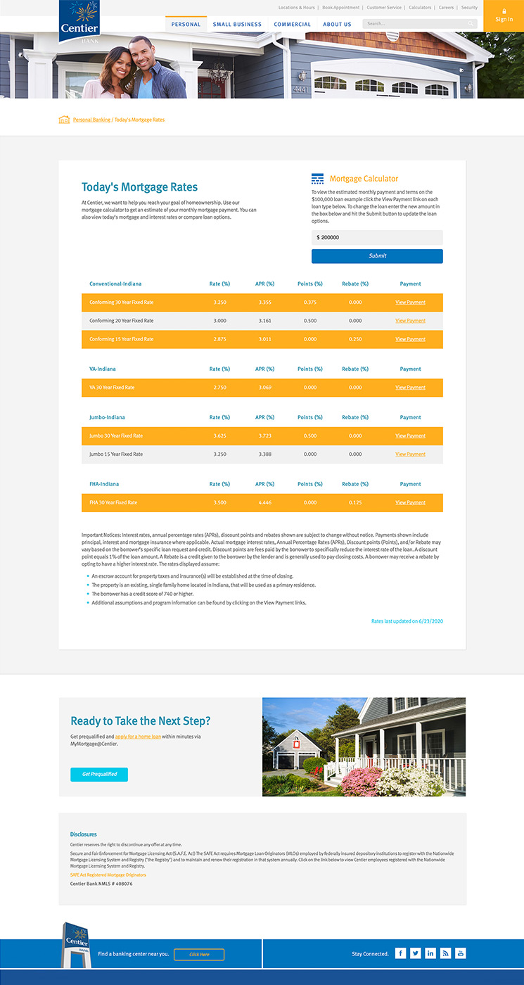 Centier Mortgage Rates landing page snapshot