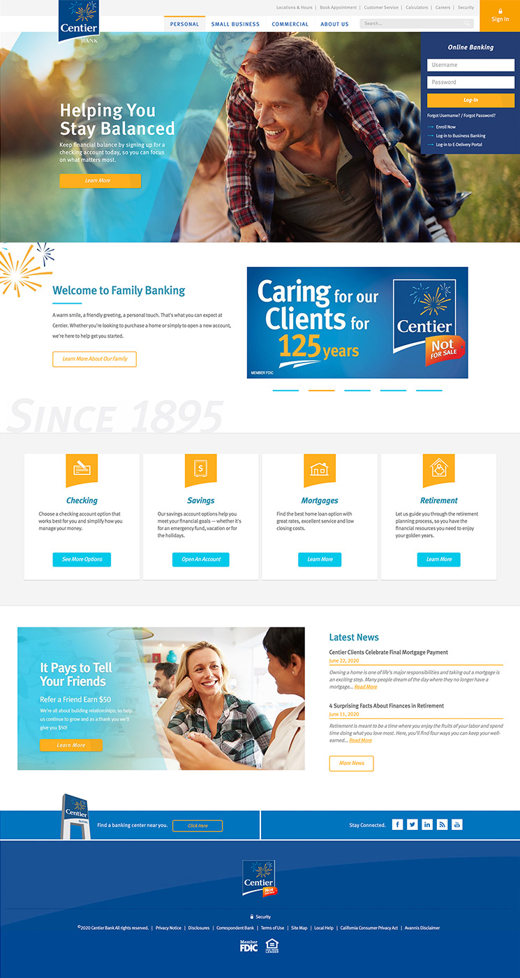 Centier Bank home landing page snapshot
