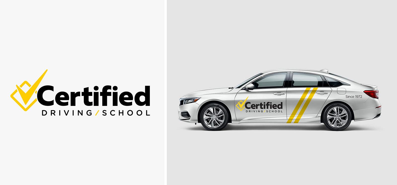 Certified Driving School logo design / vehicle graphics design