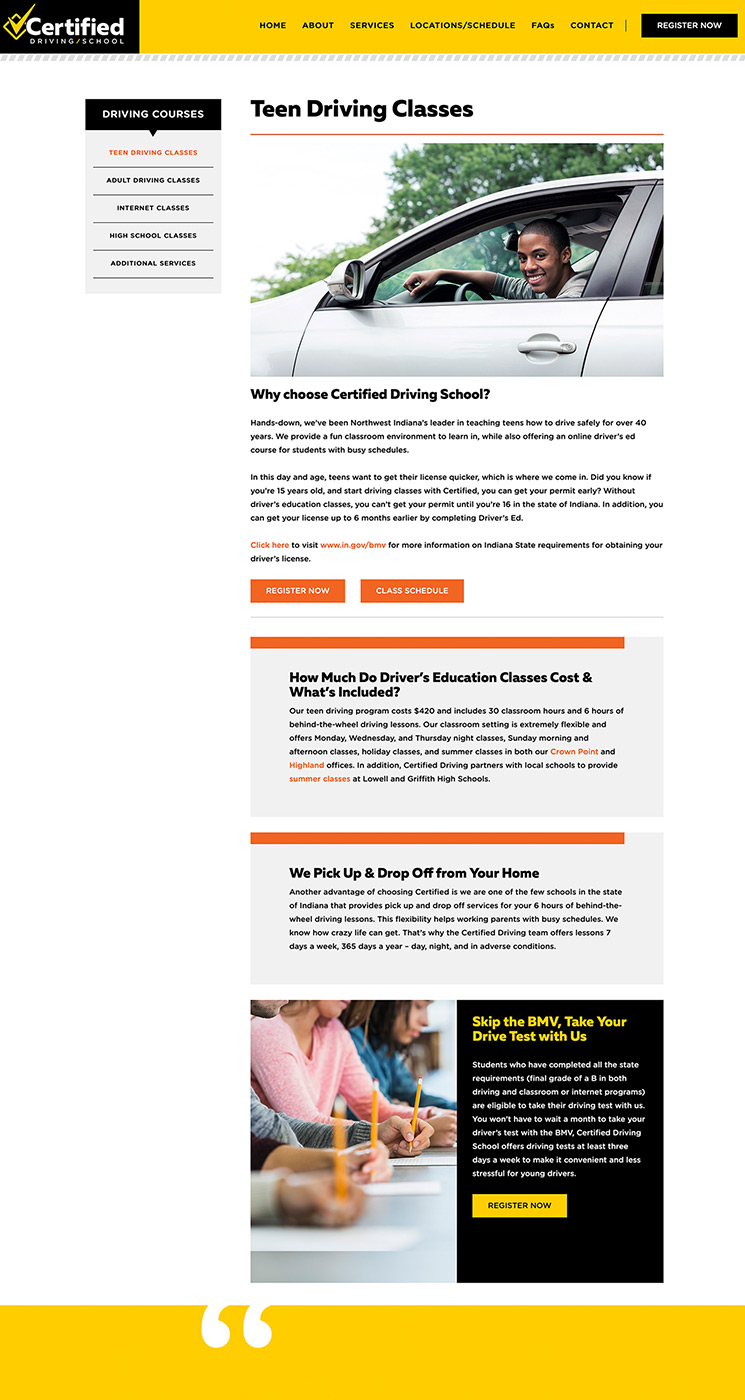 Certified Driving School classes landing page design