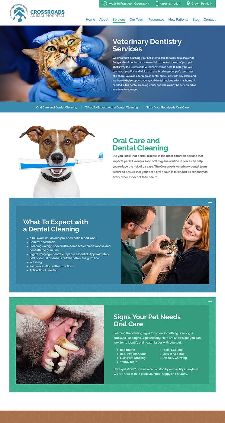 Crossroads Animal Hospital veterinary services landing page snap-shot