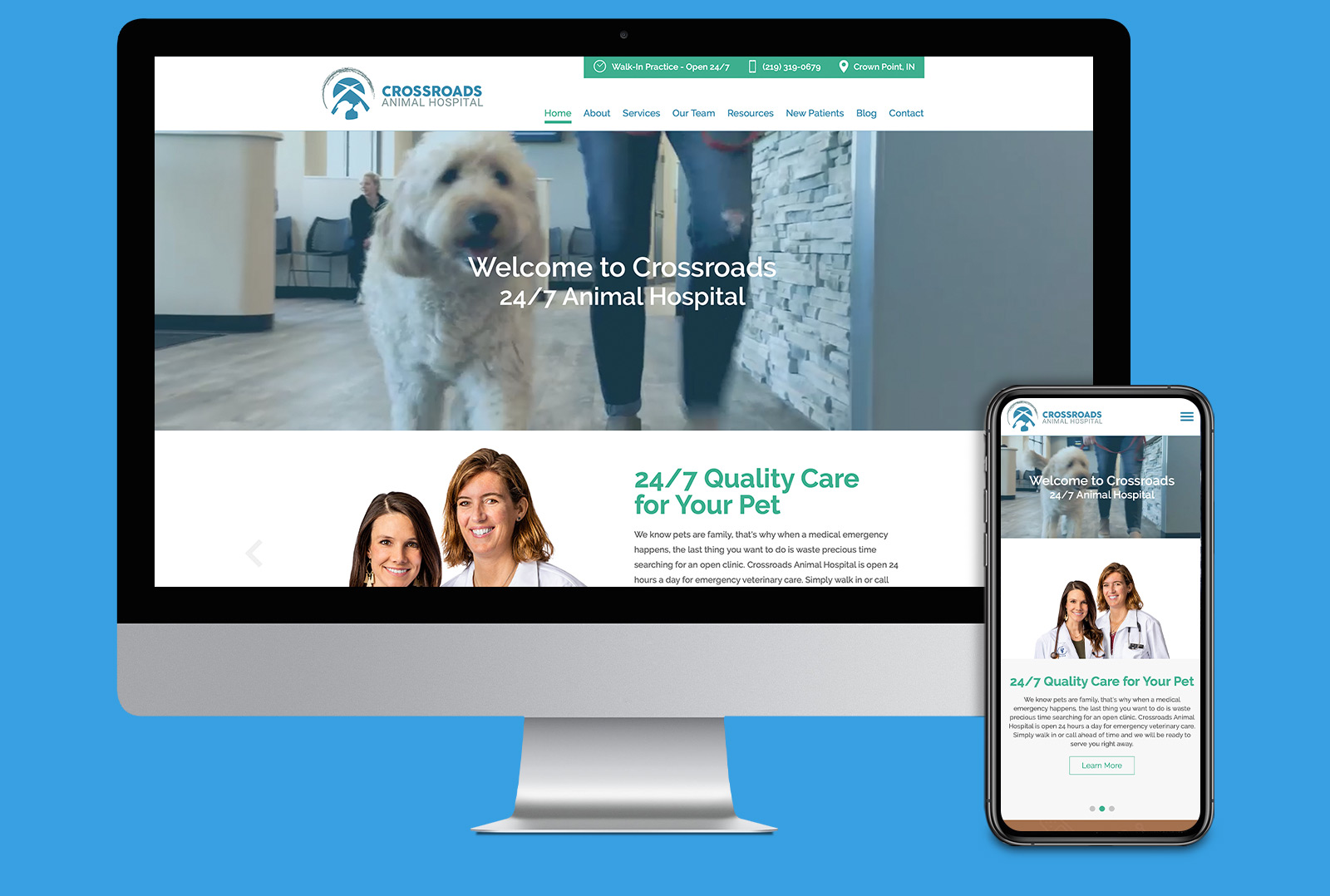 Crossroads Animal Hospital website landing page on computer screen