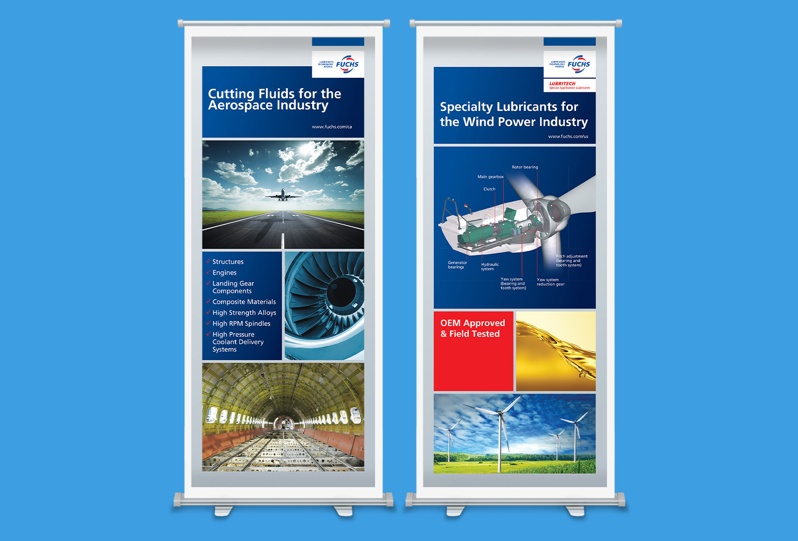 Fuchs motor oil product listing graphic design