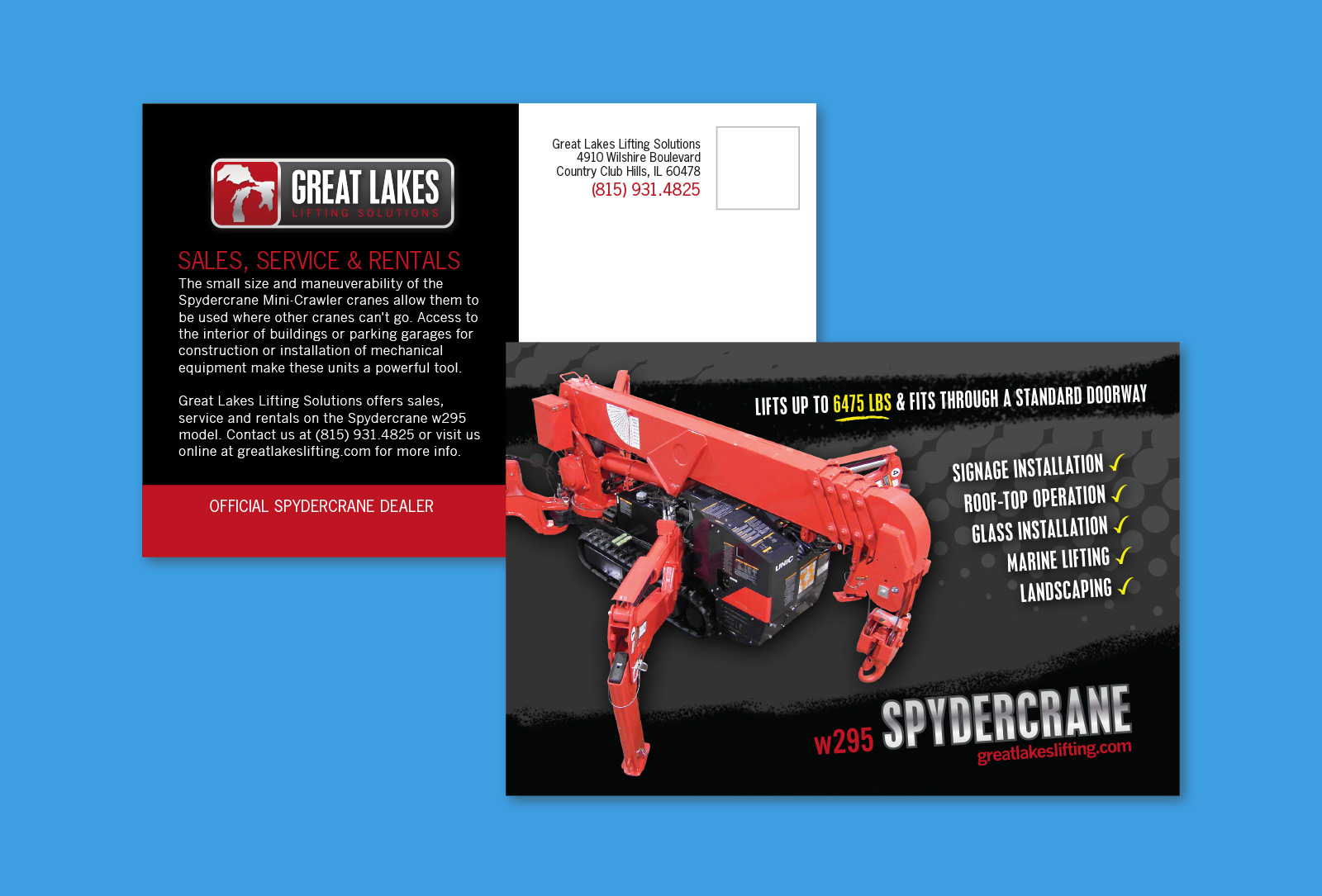 Front and back of Great Lakes Lifting postcard graphic design