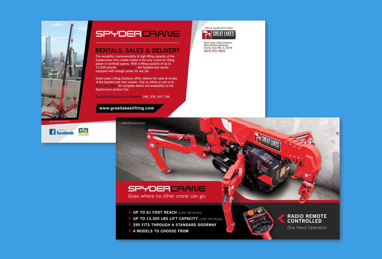 Front and back of Great Lakes Lifting print collateral graphic design