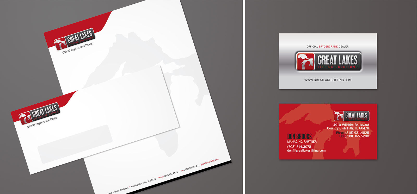 Great Lakes Lifting stationery and business card design