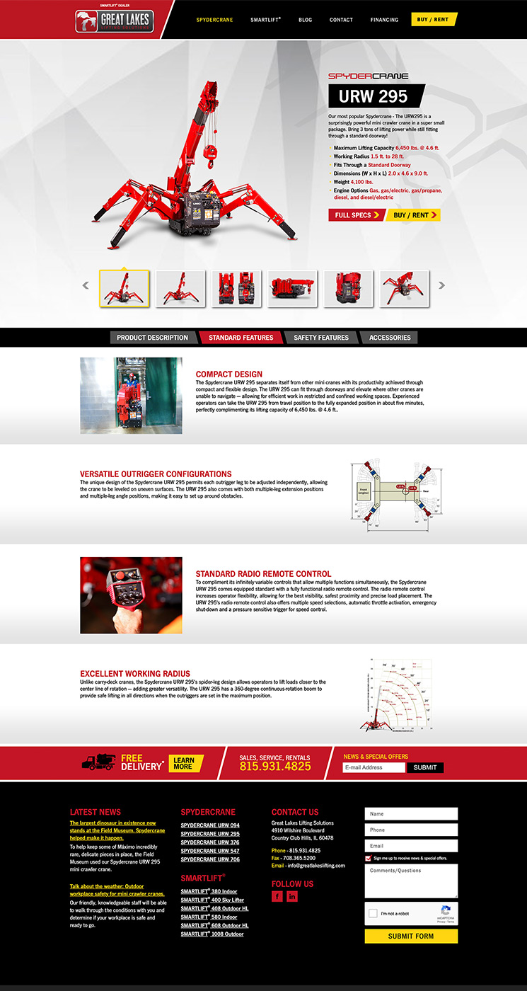 Great Lakes Lifting product landing page design