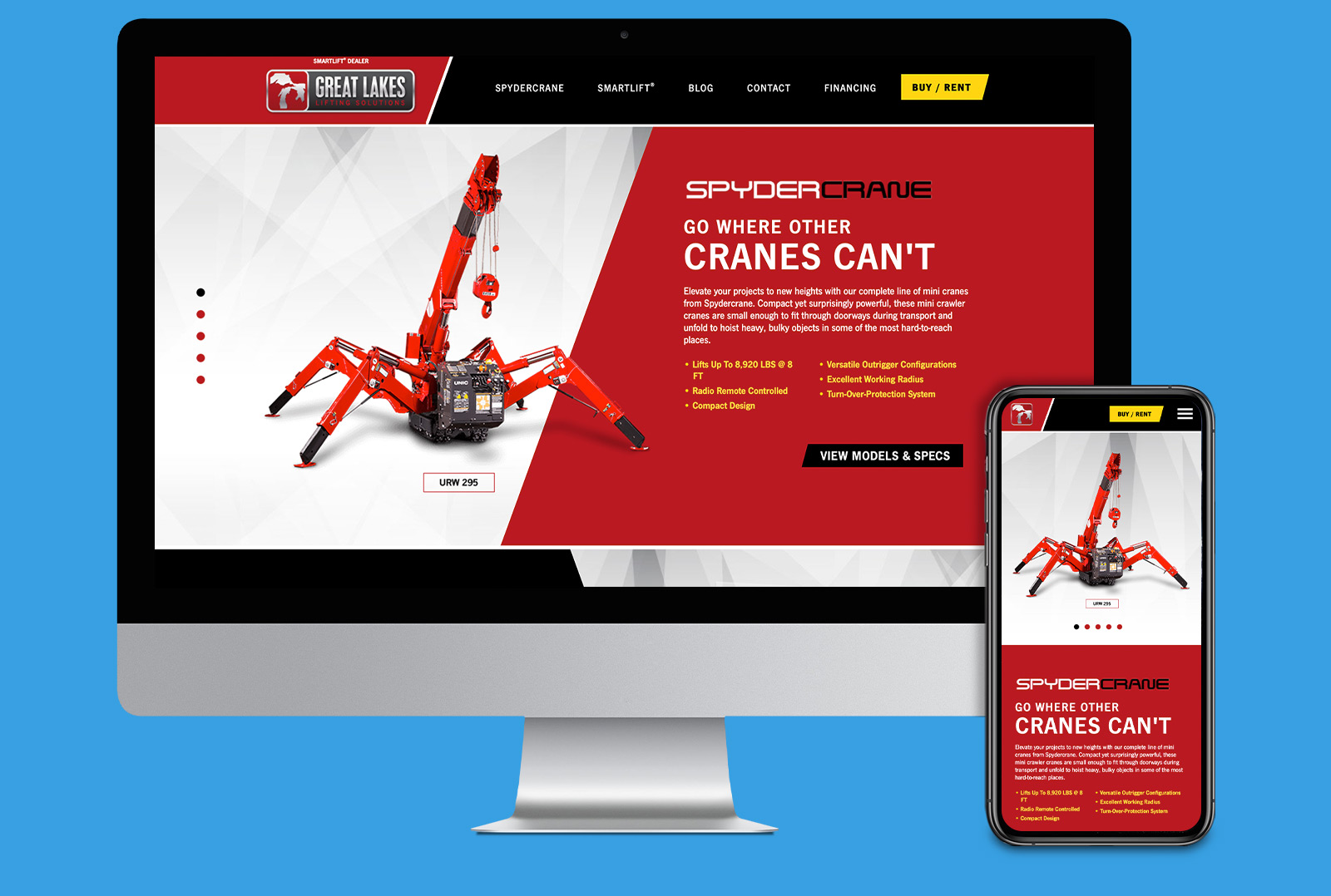 Great Lakes Lifting website landing page on desktop and mobile
