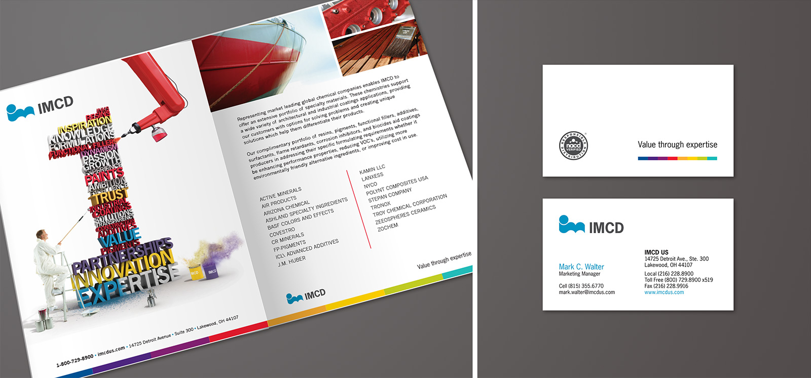 IMCD two page spread layout design / business card graphic design