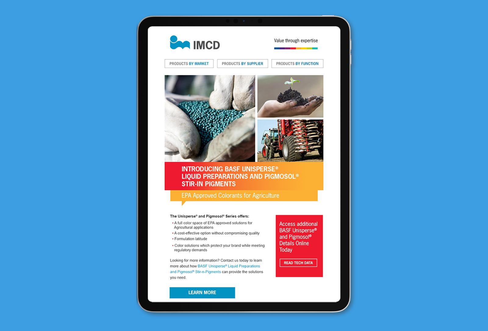 IMCD campaign tablet landing page graphic design