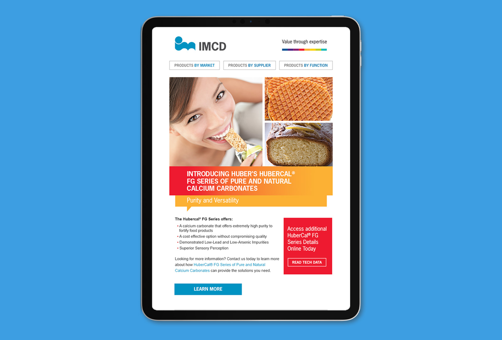 IMCD campaign landing page graphic design on tablet