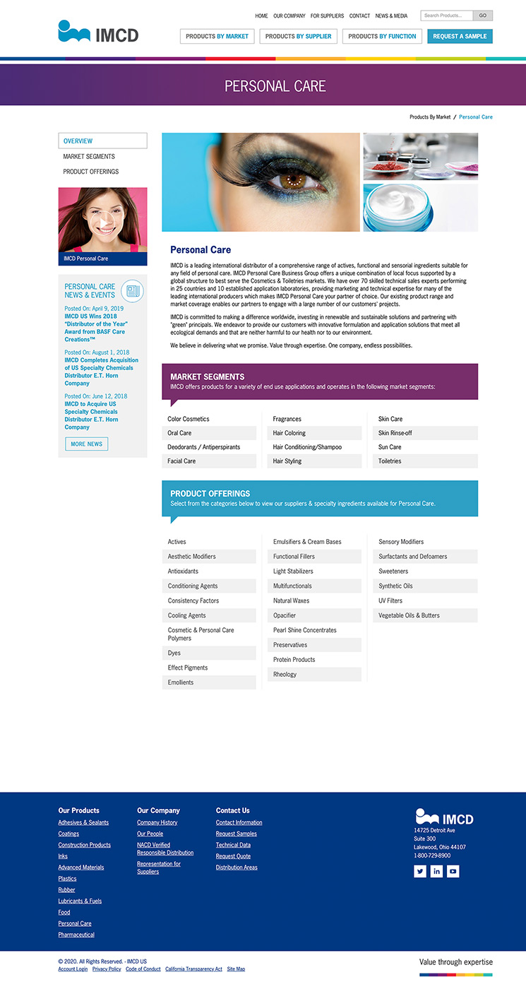 IMCD personal care product offering landing page