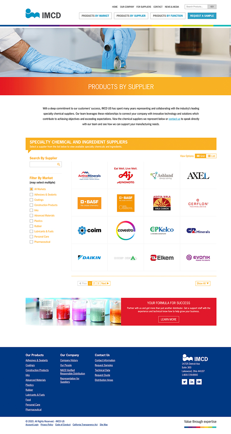 IMCD product supplier listing landing page