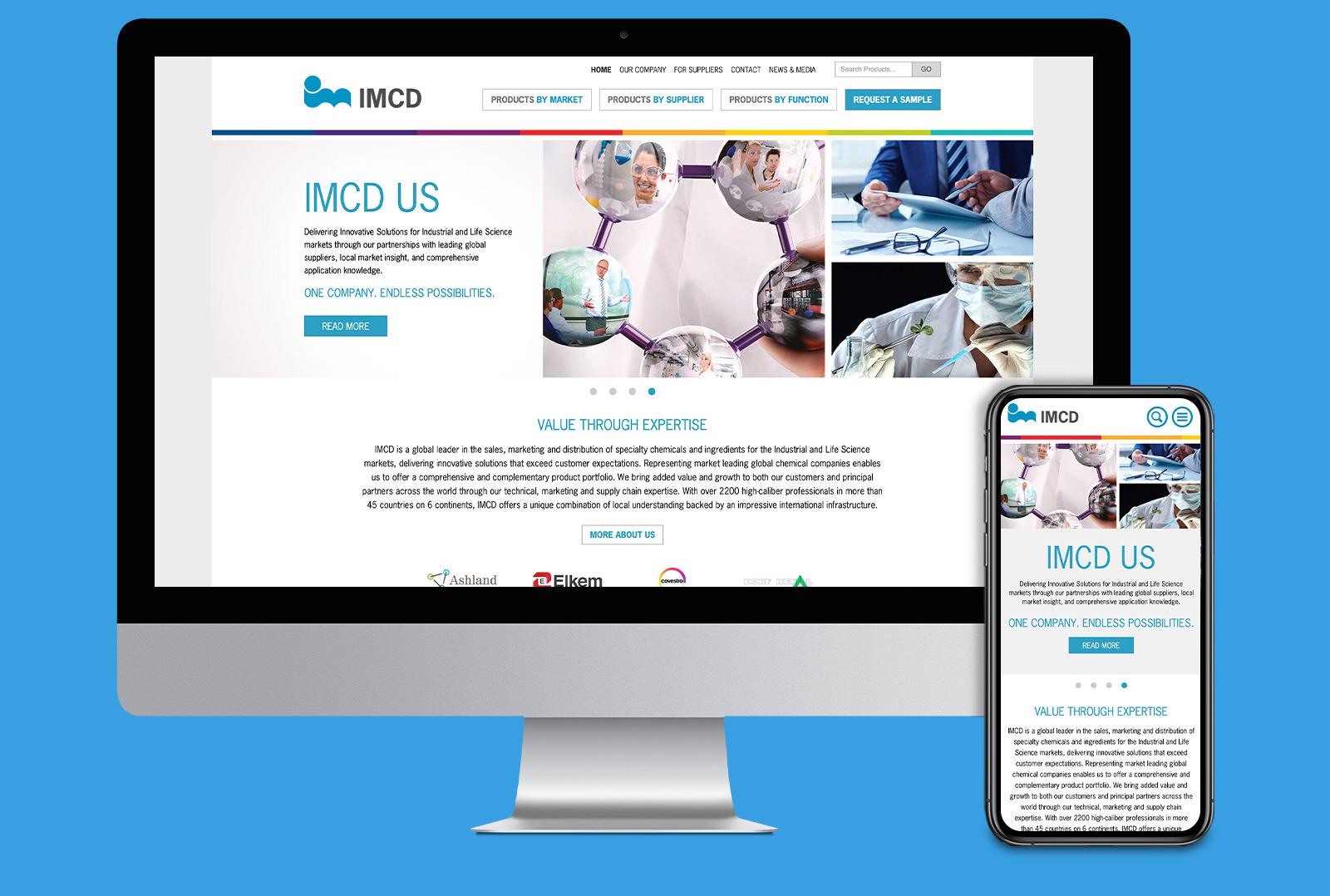 IMCD website landing page on desktop and mobile