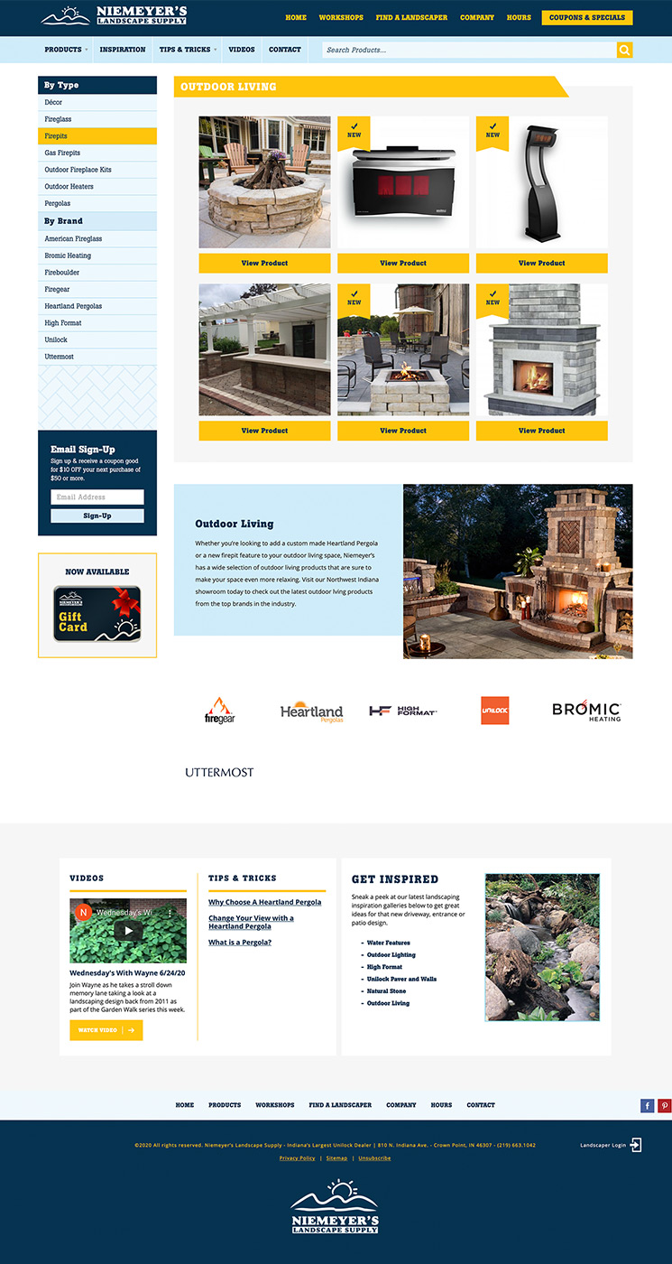 Niemeyer's outdoor products landing page design