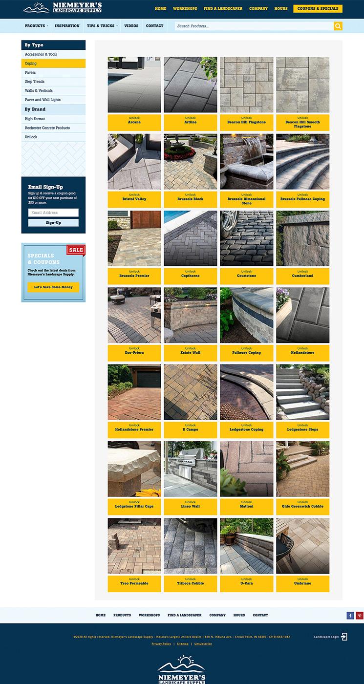 Niemeyer's outdoor coping landing page design