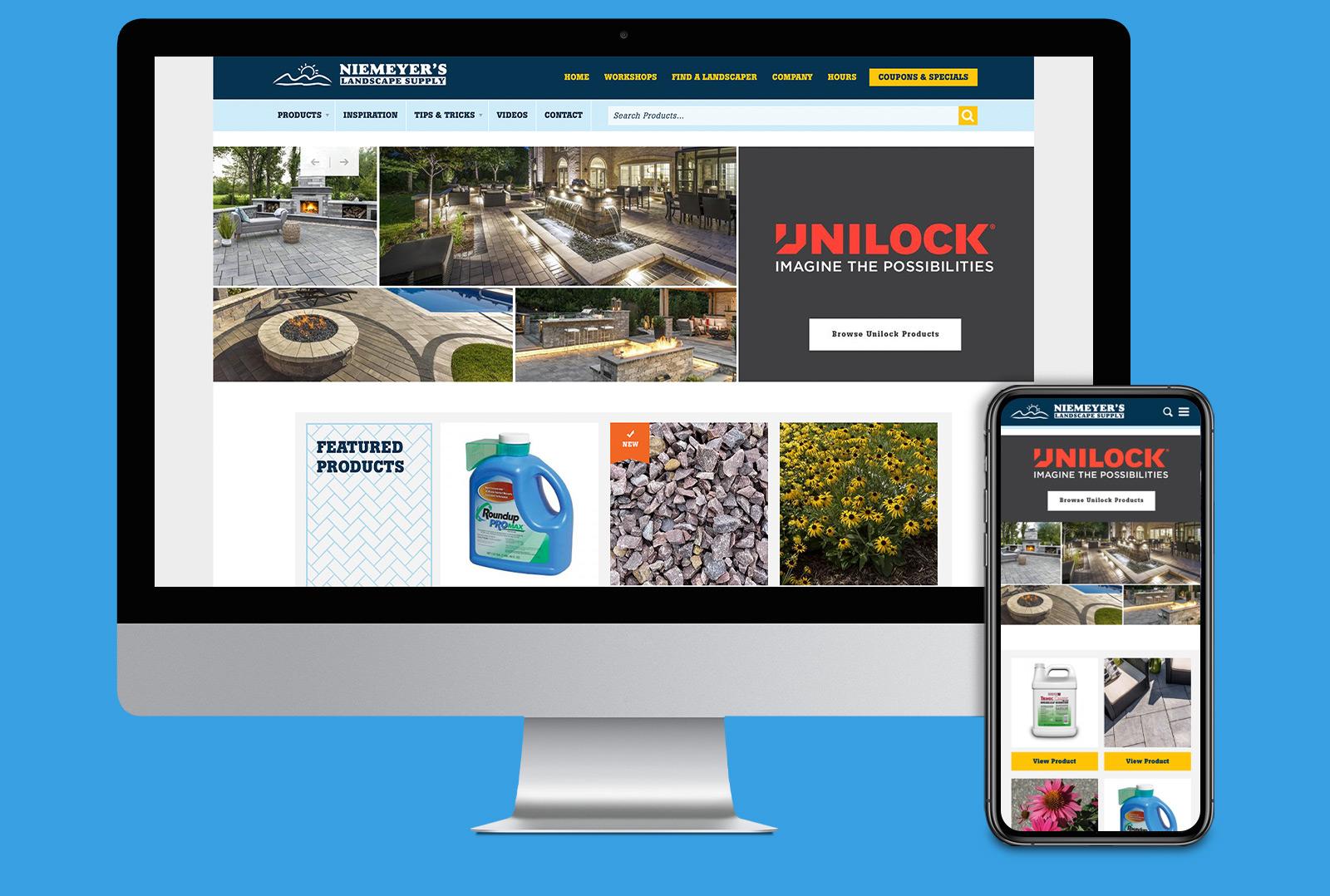 Niemeyer's website landing page on desktop and mobile