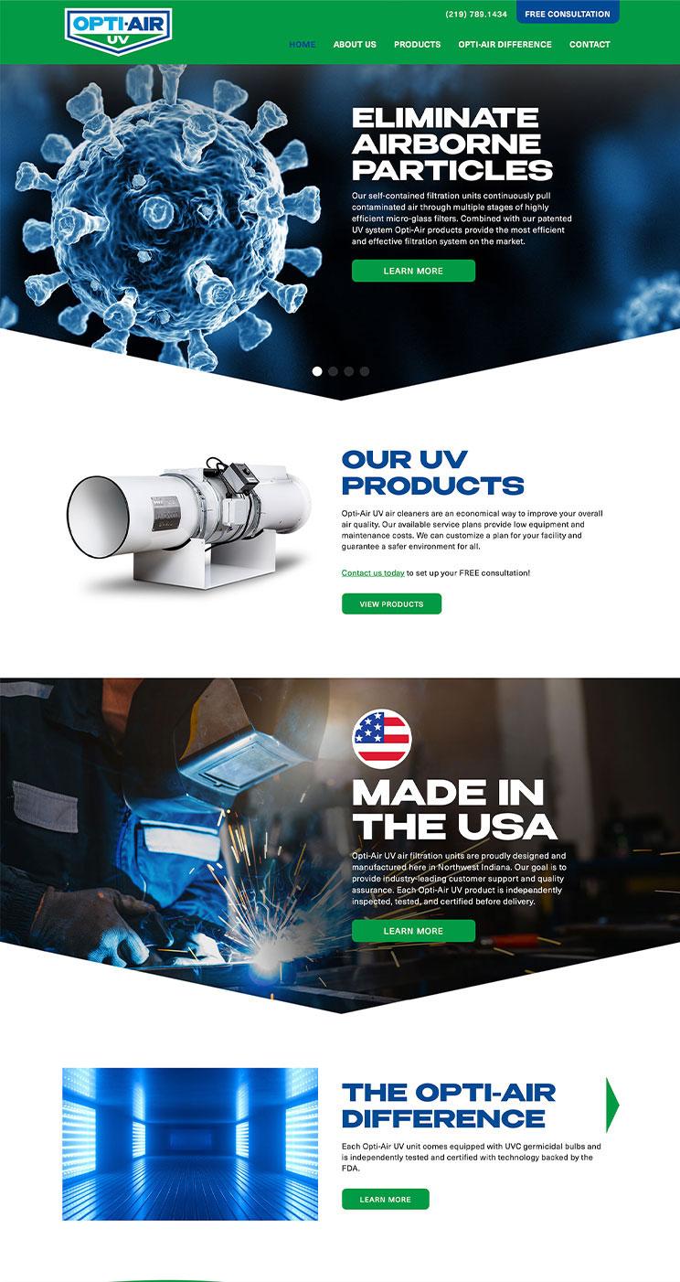 Opti-Air UV website home page snapshot
