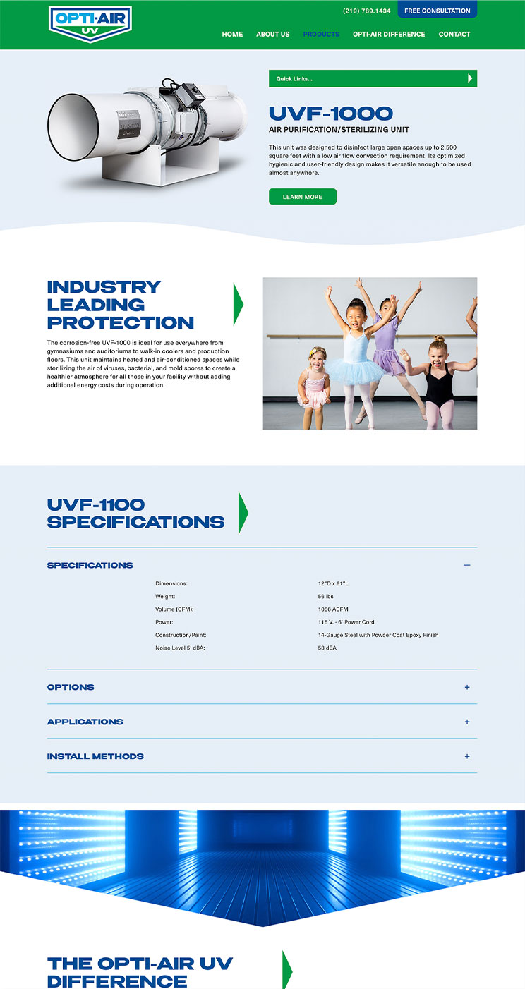 Opti-Air UV products landing page snapshot
