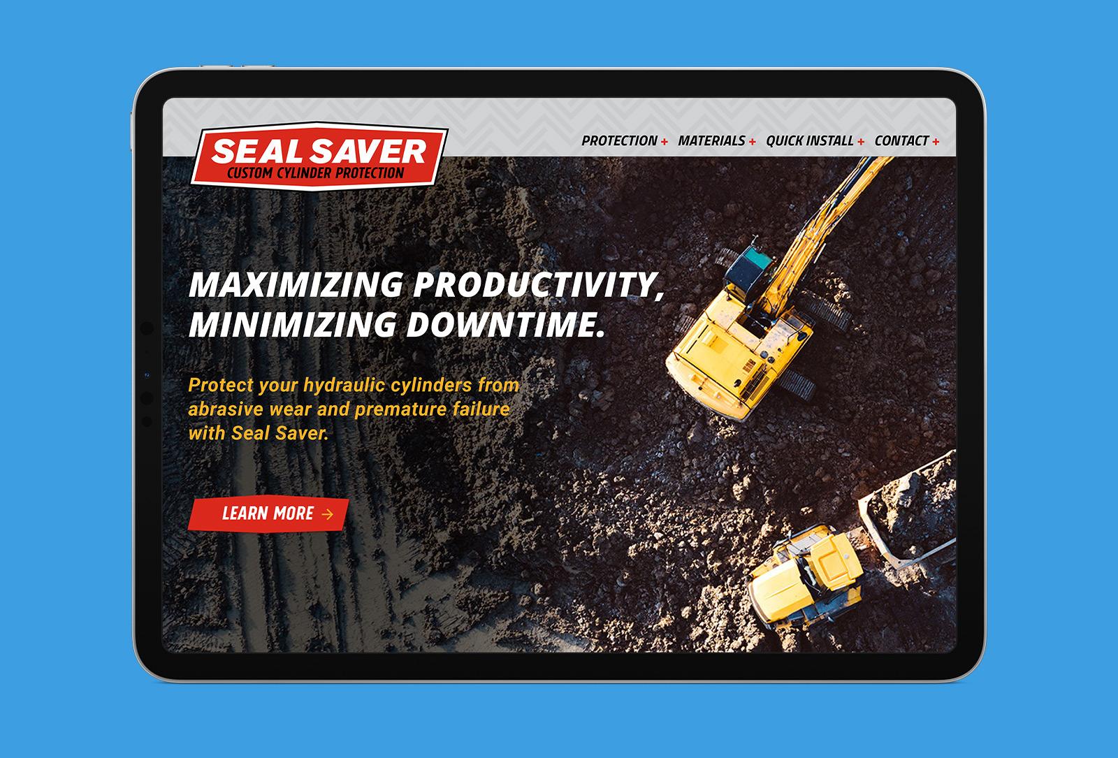 Seal Saver campaign landing page design on tablet