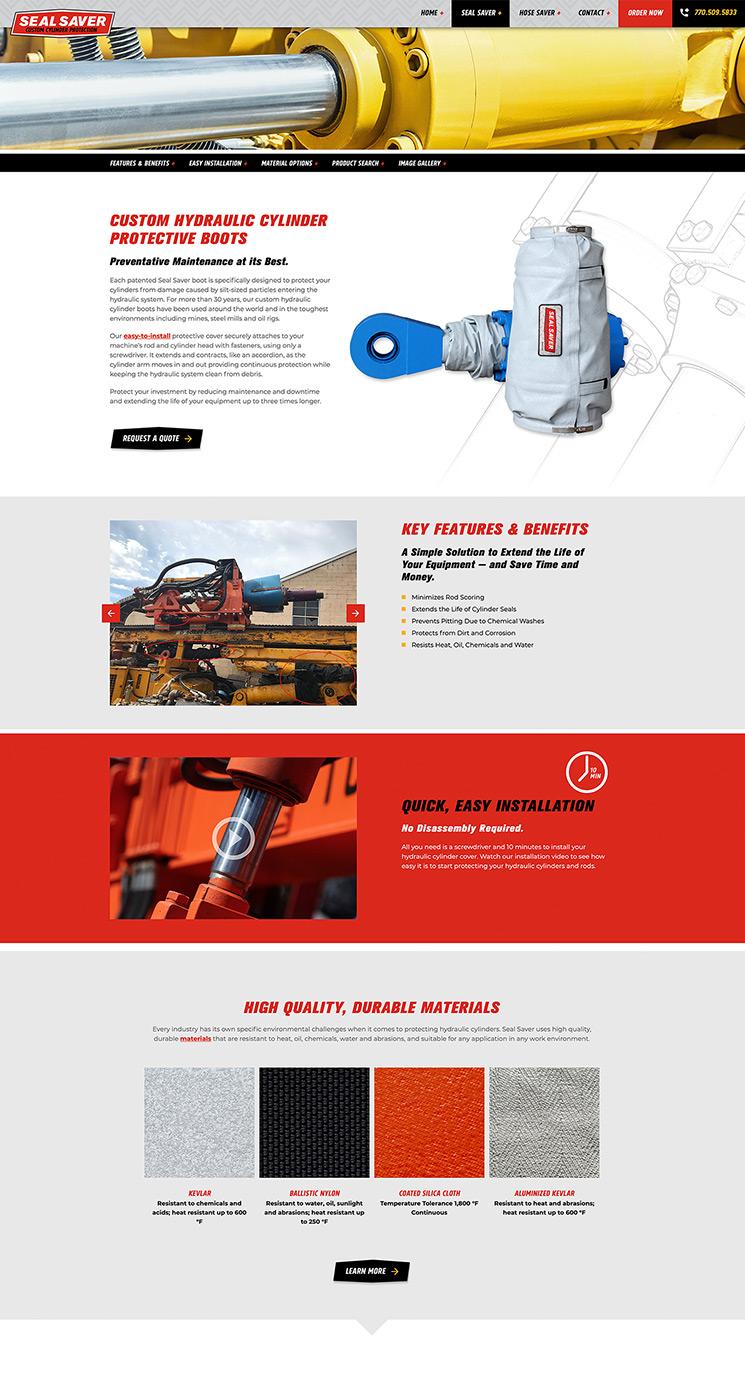 Seal Saver product landing page design