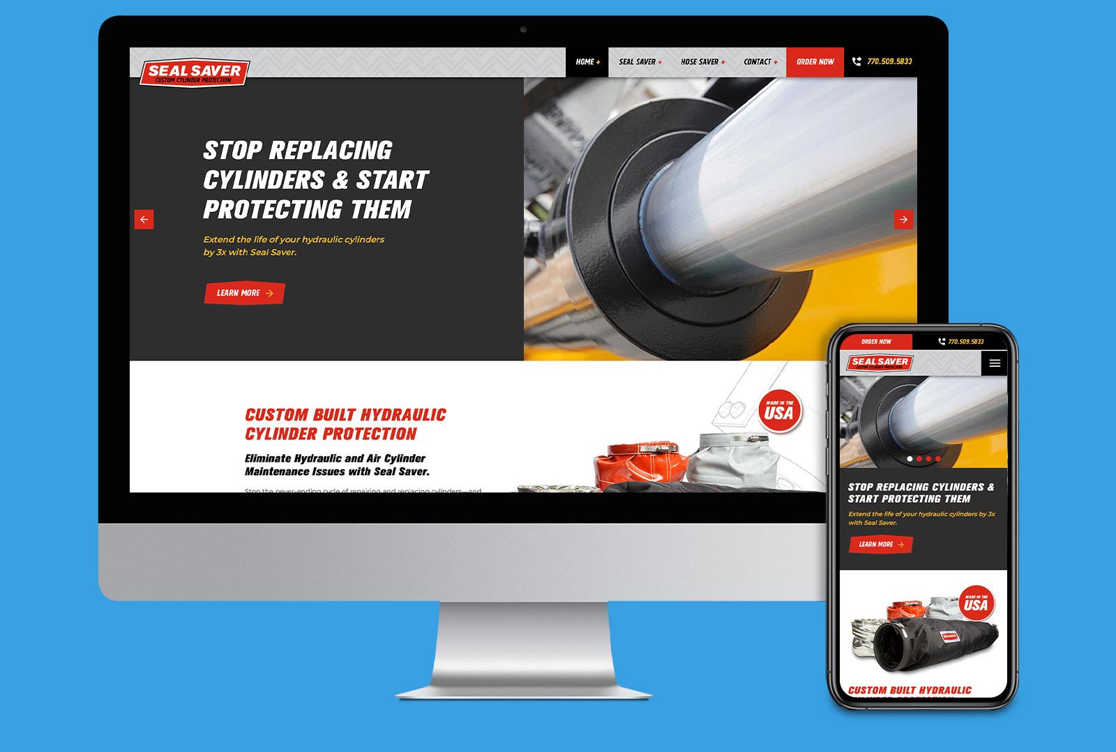 Seal Saver website landing page on desktop and mobile