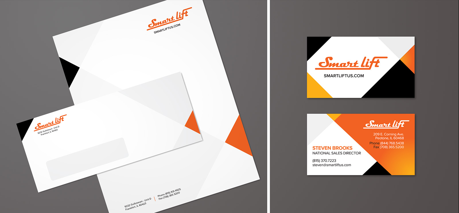 SmartLift® stationery and business card design