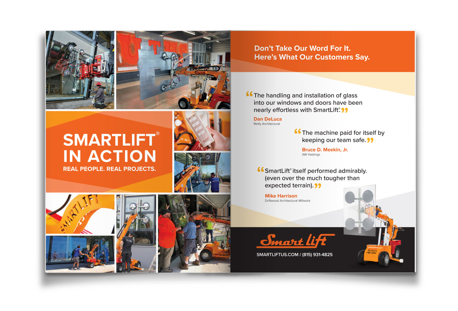 SmartLift® two page magazine ad graphic design