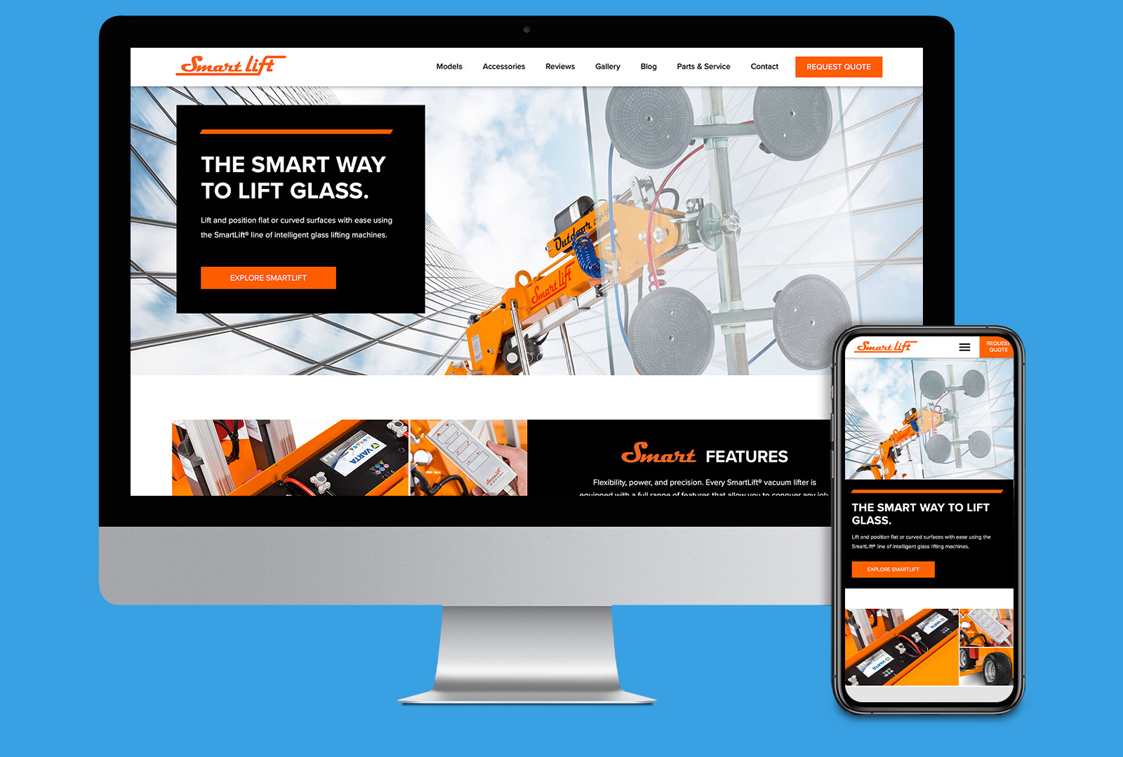 SmartLift® website landing page on computer screen