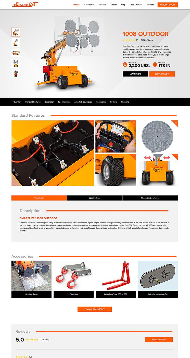 SmartLift® 1008 Outdoor landing page snapshot