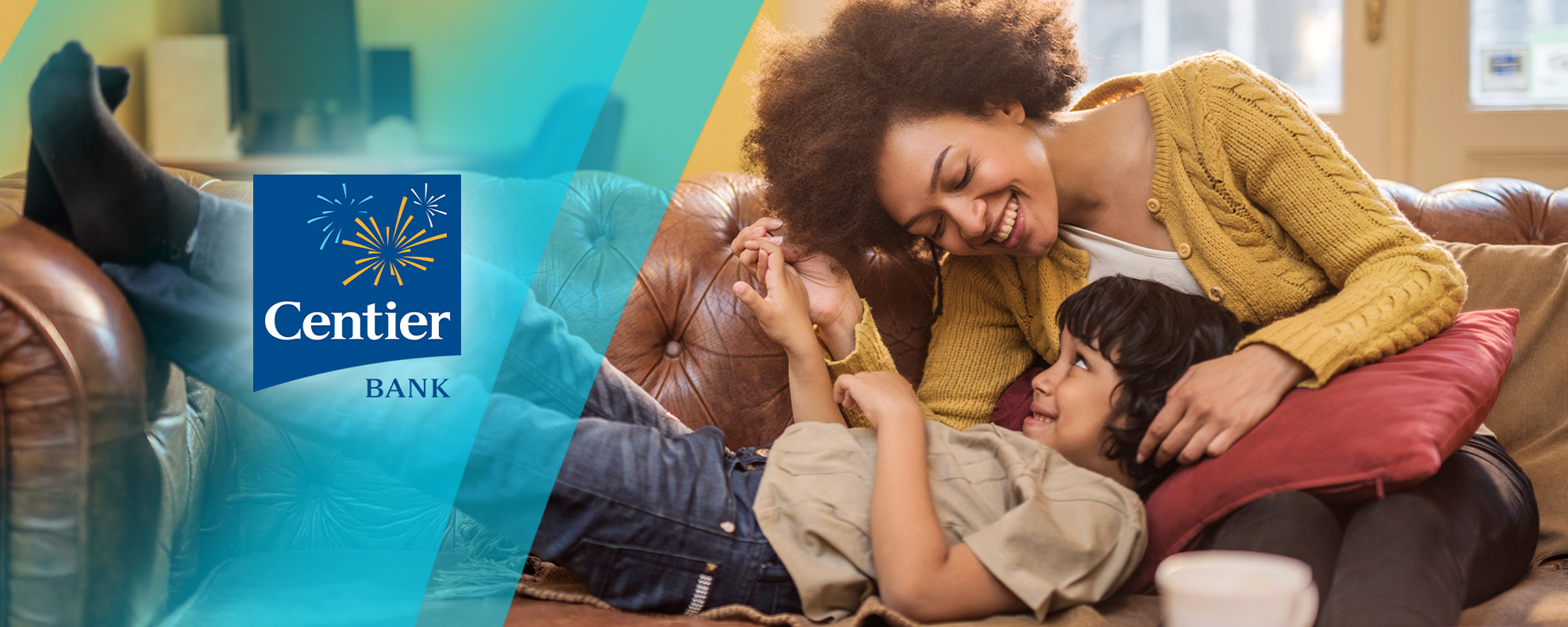 Centier Bank lifestyle ad with mother and child on couch