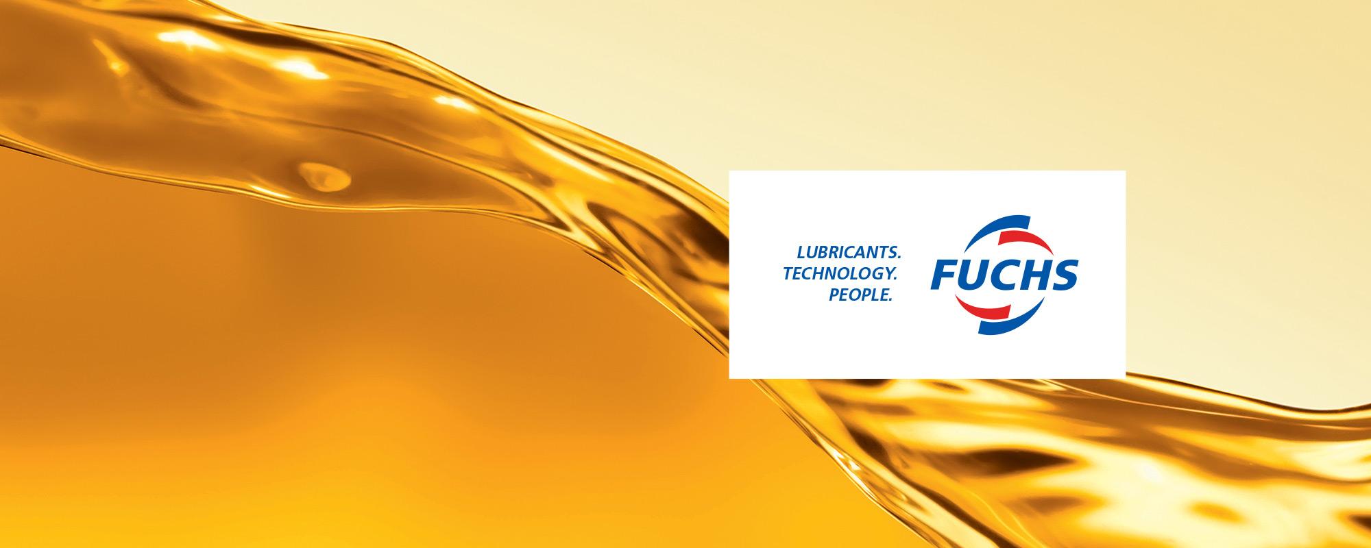Fuchs logo with oil backsplash