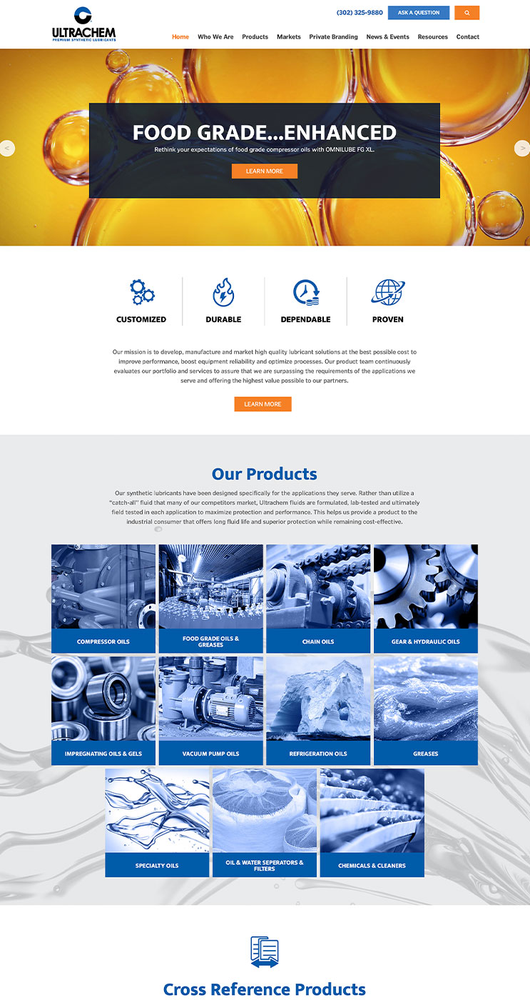 Ultrachem website home page snapshot