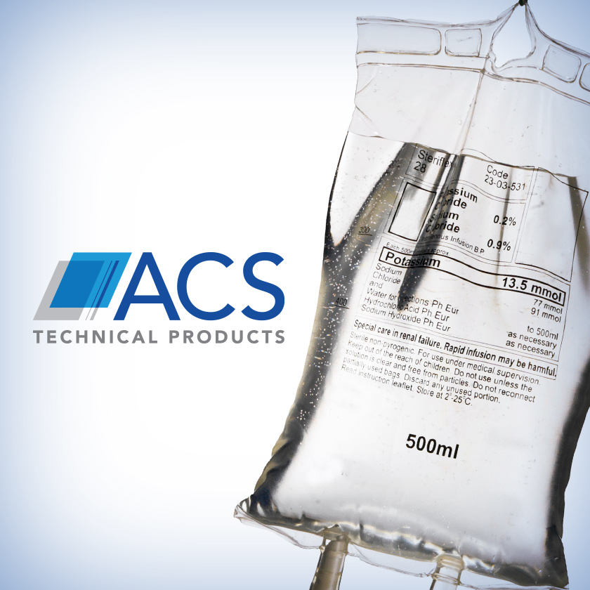 ACS Technical Products logo and medical drip bag