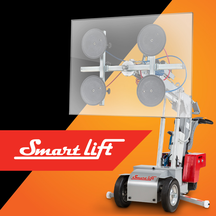 SmartLift logo and glass lifting machine